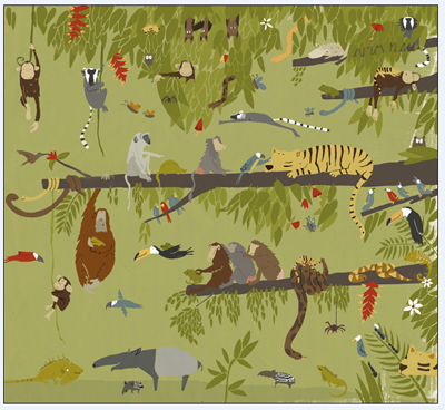 《该回家了小淘气》内页|请找出不属于丛林的动物。