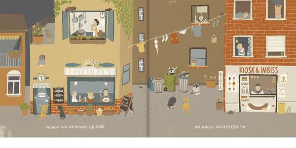 《猫在晚上干什么》内页|仔细看地上,有小猫脚印。
